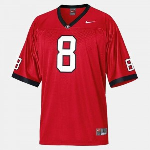 Men's #8 A.J. Green college Jersey - Red Football Georgia