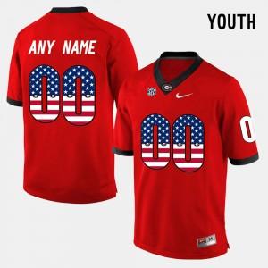 Youth(Kids) Georgia Bulldogs US Flag Fashion #00 college Customized Jerseys - Red