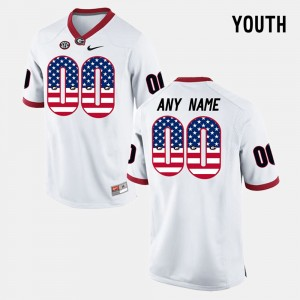 Kids US Flag Fashion GA Bulldogs #00 college Customized Jerseys - White