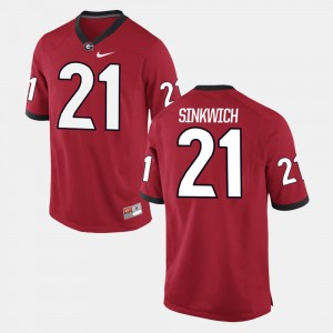 Men's Alumni Football Game #21 Georgia Bulldogs Frank Sinkwich college Jersey - Red