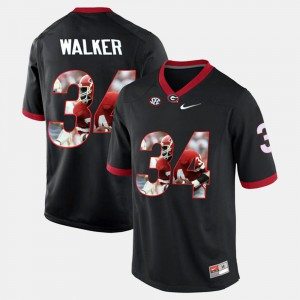 Men University of Georgia Player Pictorial #34 Herschel Walker college Jersey - Black