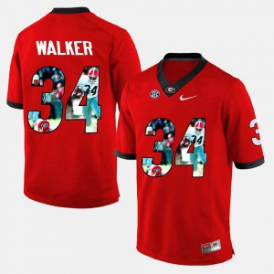 Mens Georgia Player Pictorial #34 Herschel Walker college Jersey - Red