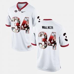 Mens Georgia Player Pictorial #34 Herschel Walker college Jersey - White