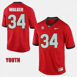 Youth #34 Georgia Bulldogs Football Herschel Walker college Jersey - Red