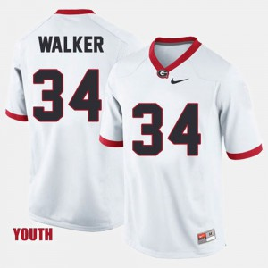 Kids #34 Football University of Georgia Herschel Walker college Jersey - White