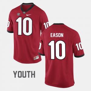 Kids Football #10 Georgia Bulldogs Jacob Eason college Jersey - Red
