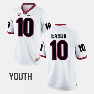 Kids #10 Football Georgia Bulldogs Jacob Eason college Jersey - White