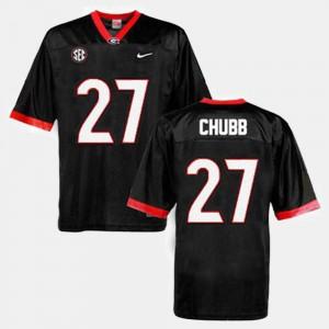 Men #27 Football GA Bulldogs Nick Chubb college Jersey - Black