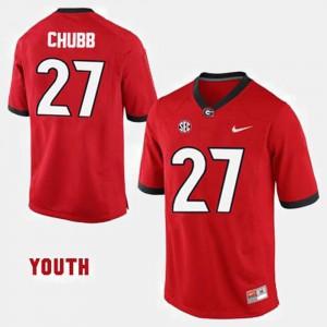 Kids Football UGA Bulldogs #27 Nick Chubb college Jersey - Red