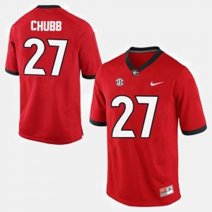 Mens #27 Georgia Bulldogs Football Nick Chubb college Jersey - Red