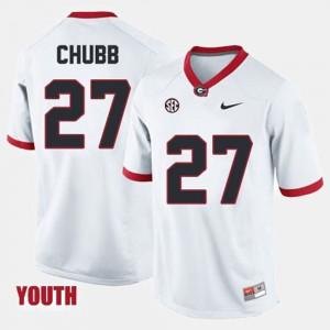 Youth(Kids) University of Georgia #27 Football Nick Chubb college Jersey - White