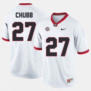 Men #27 Football Georgia Bulldogs Nick Chubb college Jersey - White