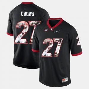 Men's UGA Player Pictorial #27 Nick Chubb college Jersey - Black
