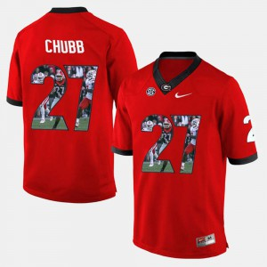 Men #27 Player Pictorial Georgia Bulldogs Nick Chubb college Jersey - Red