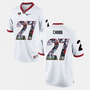Men Player Pictorial UGA Bulldogs #27 Nick Chubb college Jersey - White