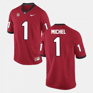 Men's #1 Georgia Football Sony Michel college Jersey - Red
