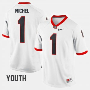 Youth(Kids) #1 Football Georgia Sony Michel college Jersey - White