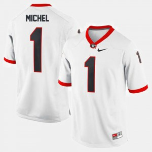 Men Football #1 UGA Sony Michel college Jersey - White