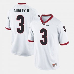 Mens #3 Football Georgia Bulldogs Todd Gurley II college Jersey - White