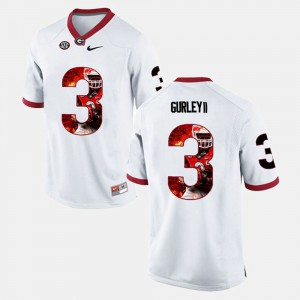 Men UGA Bulldogs #3 Player Pictorial Todd Gurley II college Jersey - White