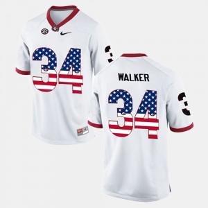 Men's US Flag Fashion #34 Georgia Bulldogs Herschel Walker college Jersey - White