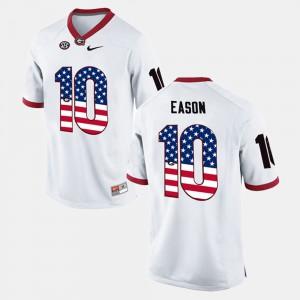 Men's #10 US Flag Fashion UGA Jacob Eason college Jersey - White