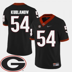 Men #54 Brandon Kublanow college Jersey - Black Football 2018 SEC Patch University of Georgia