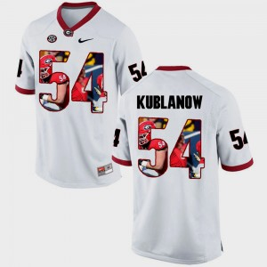 Mens #54 University of Georgia Pictorial Fashion Brandon Kublanow college Jersey - White