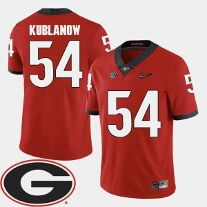 Mens UGA Bulldogs 2018 SEC Patch #54 Football Brandon Kublanow college Jersey - Red