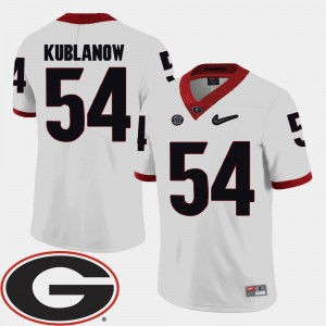 Men's Georgia #54 Football 2018 SEC Patch Brandon Kublanow college Jersey - White