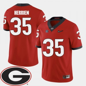 Men UGA Bulldogs Football 2018 SEC Patch #35 Brian Herrien college Jersey - Red