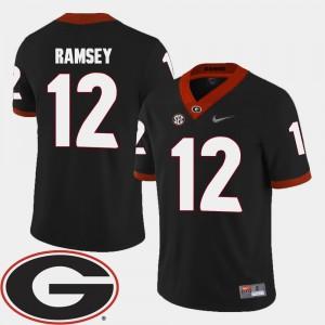 Men's GA Bulldogs #12 Football 2018 SEC Patch Brice Ramsey college Jersey - Black
