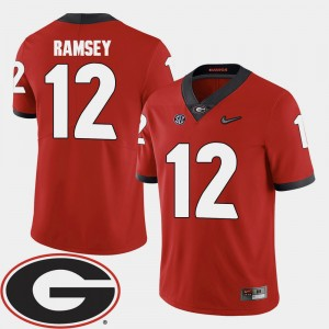 Men Football #12 2018 SEC Patch Georgia Bulldogs Brice Ramsey college Jersey - Red