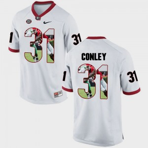 Men's Pictorial Fashion Georgia #31 Chris Conley college Jersey - White
