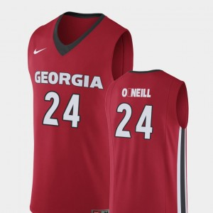 Men Basketball #24 UGA Bulldogs Replica Connor O'Neill college Jersey - Red