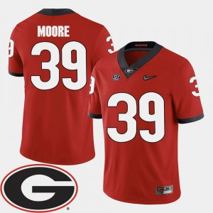 Men #39 Georgia Football 2018 SEC Patch Corey Moore college Jersey - Red