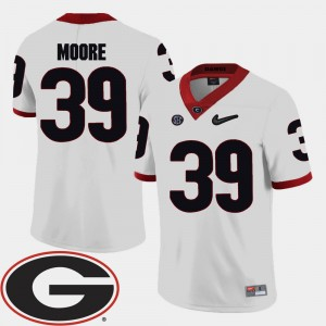 Men's Football UGA Bulldogs 2018 SEC Patch #39 Corey Moore college Jersey - White