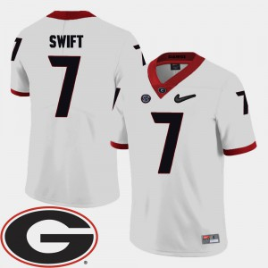 Men #7 D'Andre Swift college Jersey - White Football 2018 SEC Patch Georgia Bulldogs