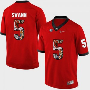 Men's #5 Damian Swann college Jersey - Red Pictorial Fashion UGA Bulldogs