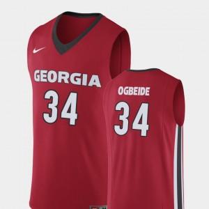 Men #34 Replica GA Bulldogs Basketball Derek Ogbeide college Jersey - Red