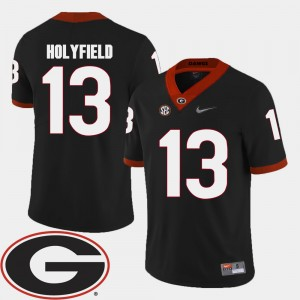 Men UGA #13 2018 SEC Patch Football Elijah Holyfield college Jersey - Black