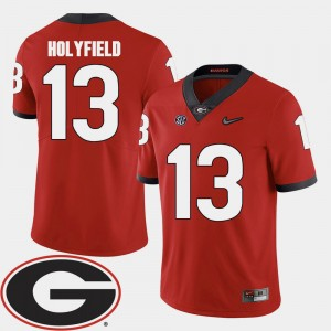 Mens #13 Football 2018 SEC Patch UGA Elijah Holyfield college Jersey - Red