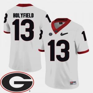 Men #13 Football 2018 SEC Patch Georgia Elijah Holyfield college Jersey - White