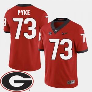 Men's Football University of Georgia #73 2018 SEC Patch Greg Pyke college Jersey - Red