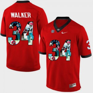 Men's #34 UGA Pictorial Fashion Herschel Walker college Jersey - Red