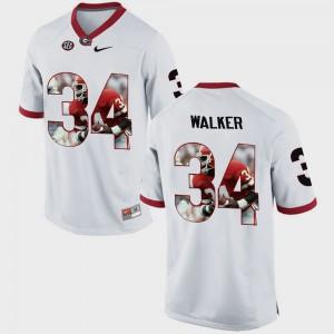 Mens Pictorial Fashion GA Bulldogs #34 Herschel Walker college Jersey - White