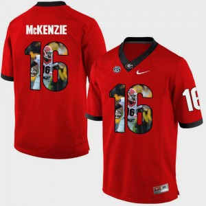 Men's GA Bulldogs Pictorial Fashion #16 Isaiah McKenzie college Jersey - Red