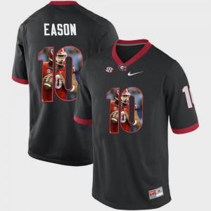 Men's #10 University of Georgia Pictorial Fashion Jacob Eason college Jersey - Black
