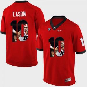Men #10 Pictorial Fashion GA Bulldogs Jacob Eason college Jersey - Red