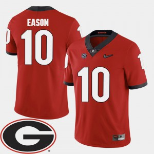 Men Football Georgia 2018 SEC Patch #10 Jacob Eason college Jersey - Red